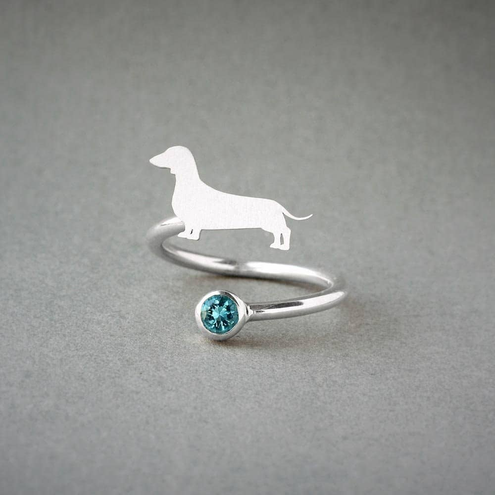 Dachshund and Birthstone Ring