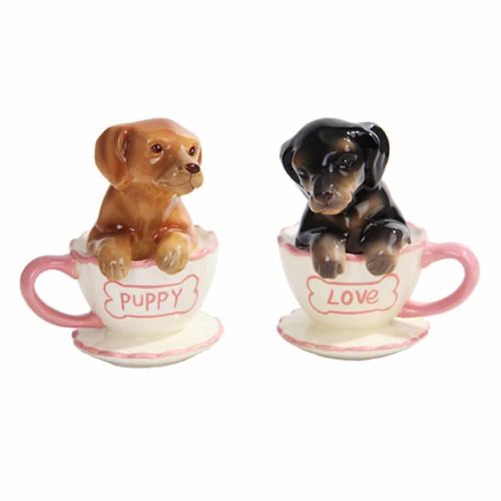 Puppies Tea Cup Salt and Pepper